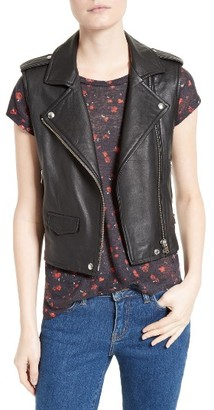Women's Iro Harri Leather Moto Vest $1,001 thestylecure.com