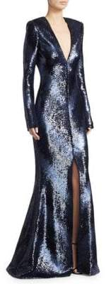 Rubin Singer V-Neck Sequin Gown