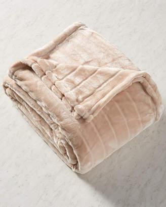 Melange Home Ron Chereskin Sculpted Stripe Velvet Fleece Blanket