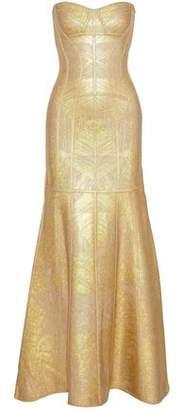 Herve Leger Merlyn Strapless Metallic Bandage Gown