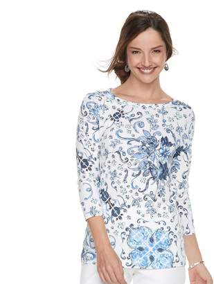 Croft & Barrow Women's Button-Shoulder Boatneck Sweater
