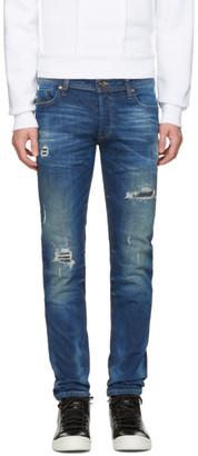 Diesel Blue Destroyed Sleenker Jeans $300 thestylecure.com