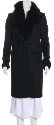 Joseph Fur-Trimmed Wool Coat