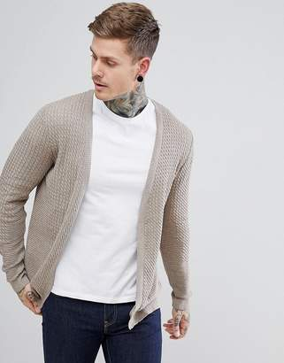 Asos DESIGN Lightweight Cable Cardigan In Oatmeal