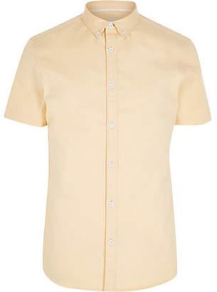River Island Mens Yellow short sleeve twill shirt