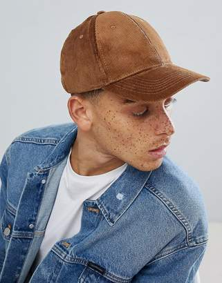 Pull&Bear Cord Cap In Tan