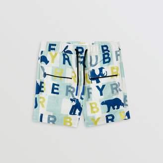 Burberry Childrens Logo Print Linen Cotton Shorts
