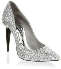 Oscar de la Renta Mariacarla Glitter Leather Pumps