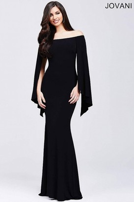 Jovani - Stunning Off Shoulder Long Gown with Wing Sleeves 21799 $400 thestylecure.com