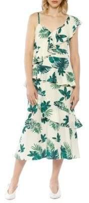 Palm Printed One-Shoulder Ruffle Dress