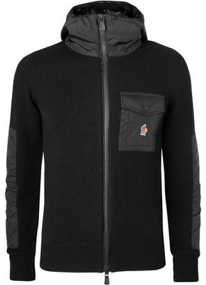 Moncler Panelled Merino Wool-blend Hooded Jacket - Black