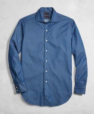 Brooks Brothers Golden Fleece Italian Denim Regent Fit English Collar Shirt