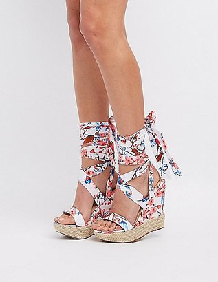 Floral Lace-Up Wedge Sandals $38.99 thestylecure.com