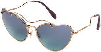 Miu Miu SMU 55R Gold-Tone & Blue Heart-Shaped Sunglasses