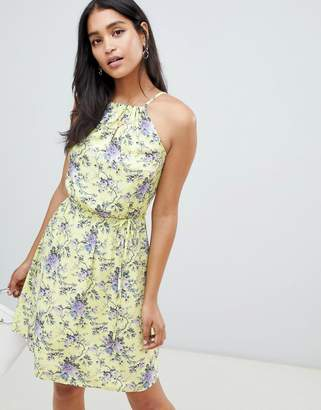 Oasis high neck dress in yellow floral