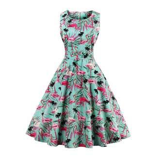 FTVOGUE Women Retro 50s Dot Sleeveless Bodycon A-Line Swing Pleated Dress (L-)
