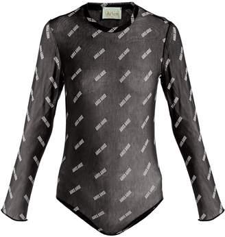 Aries Logo-print mesh bodysuit