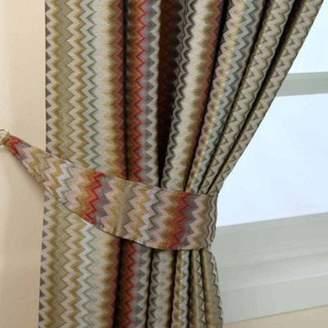 Homescapes Multi-Colour Jacquard Tie Back Pair Modern Zigzag Design