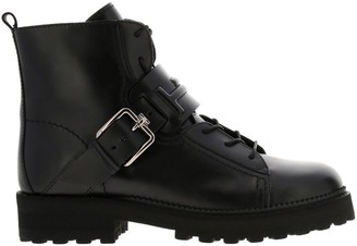 Tod's Tods Flat Booties Tods Laced Up Boots In Embossed Double T Leather