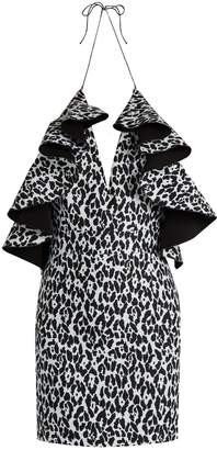 Balmain Ruffled leopard-print mini dress