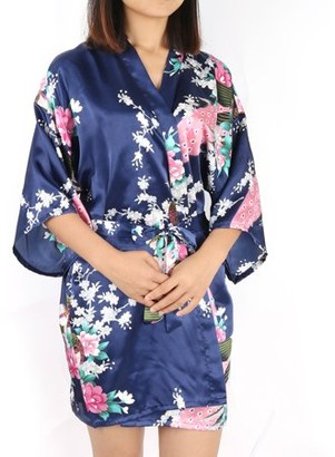 Unique Bargains Satin Robe Dressing Gown Rayon Wedding Bride Bridesmaid (Dark Blue Floral, XL)