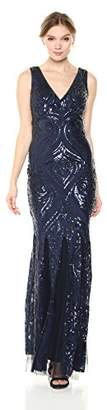 Betsy & Adam Women's Long Sequin v-Neck Dress,2