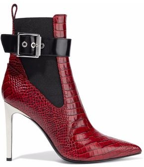 Rag & Bone Wren Buckled Croc-Effect Leather Ankle Boots