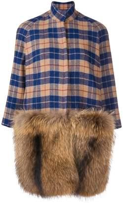 Ava Adore fur-panelled plaid coat
