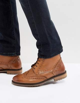 Silver Street Brogue Boots In Tan Leather