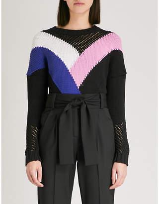 Maje Marylene panelled fine-knit jumper