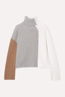 Loro Piana Color-block Ribbed Cashmere Turtleneck Sweater - Ivory