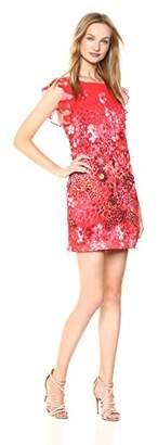 T Tahari Women's Tindra Printed Crinkle Chiffon Dress