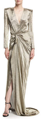 Redemption Long-Sleeve Wrap-Front Metallic Gown