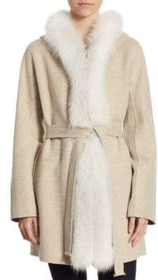 Guy Laroche Fox Fur Trim Belted Wool Coat