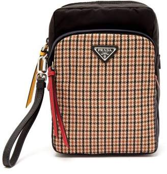 Prada Tweed Detailed Nylon Camera Bag - Mens - Brown Multi