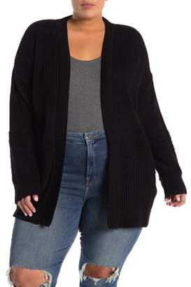 Melrose and Market Mixed Stitch Open Front Sweater (Plus Size)