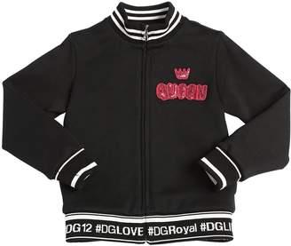 Dolce & Gabbana Queen Patch Zip-Up Cotton Sweatshirt