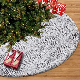 """Juegoal 48"""" Luxury Christmas Tree Skirt Faux Fur Soft Christmas Tree Mat for Xmas Party Decoration"""