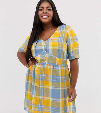 Junarose check print button front smock mini dress