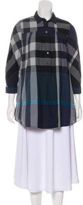 Burberry Exploded Check Long Sleeve Top Grey Exploded Check Long Sleeve Top