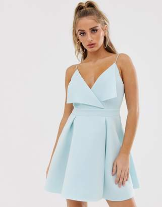Asos Design DESIGN fold front mini skater dress