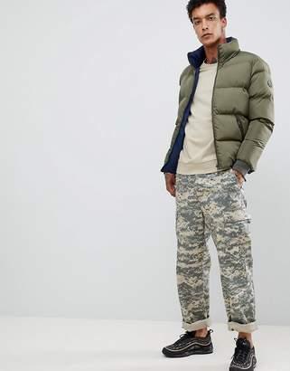 Criminal Damage reversible puffer jacket in navy
