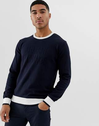 Armani Exchange logo contrast neck knitted sweater in navy