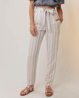 Express Petite Striped Linen-Blend Sash Waist Ankle Pant
