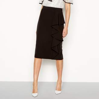 Debut Black Frill Knee Length Pencil Skirt
