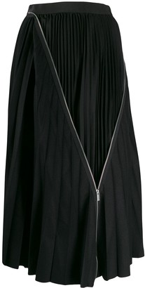 Sacai zip detail pleated skirt