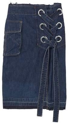 Sacai Lace-up Frayed Denim Skirt