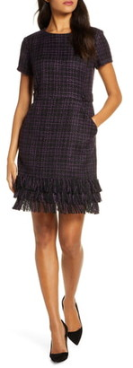 Forest Lily Tiered Fringe Boucle Sheath Dress