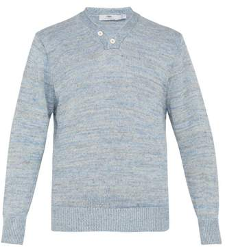 Inis Meáin Inis Meain - Hurler Melange Linen Sweater - Mens - Blue