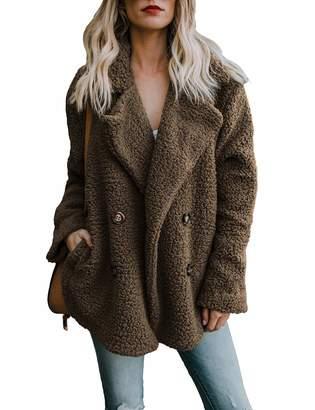 MuCoo Women's Fashion Fleece Winter Fuzzy Casual Open Front Long Sleeve Fluffy Cardigan Sweater Jacket Coat Outwear Green XL